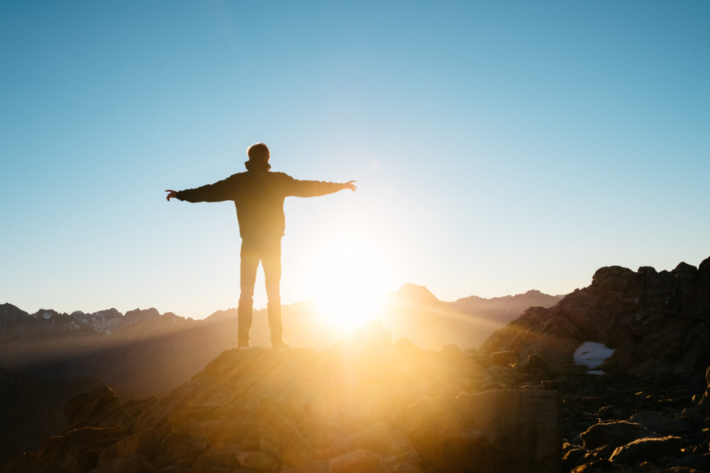 man at the summit