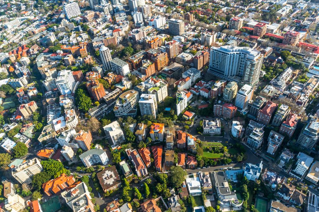 birds eye view of city