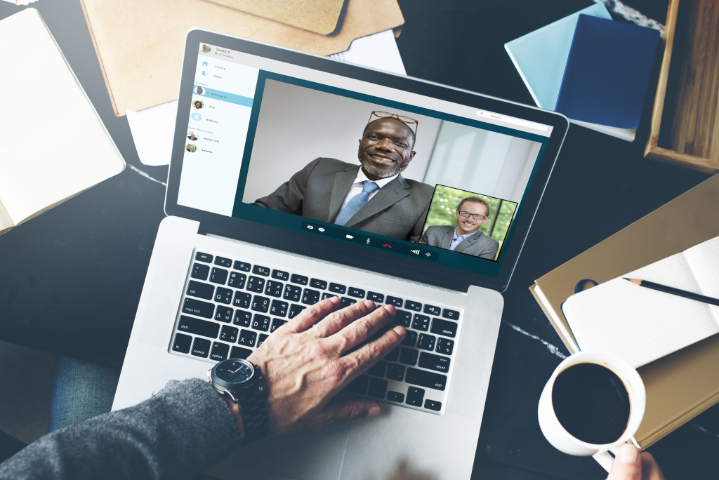 man in a video call